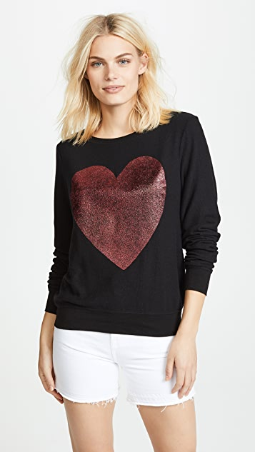 Wildfox Sparkle Heart Baggy Beach Pullover