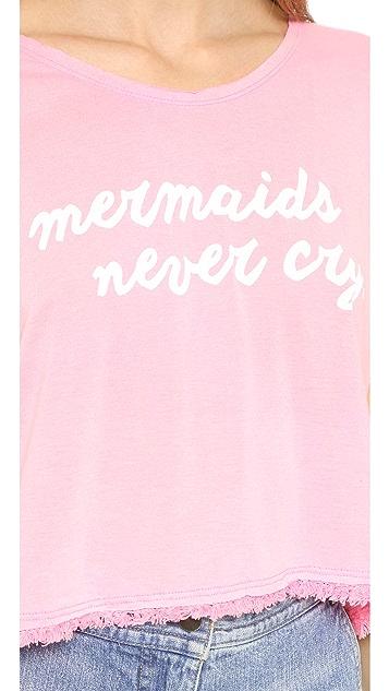 Wildfox Mermaids Neon Boxy Fringe Tee
