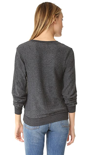 Wildfox Hey Sister Baggy Beach V Neck Sweatshirt