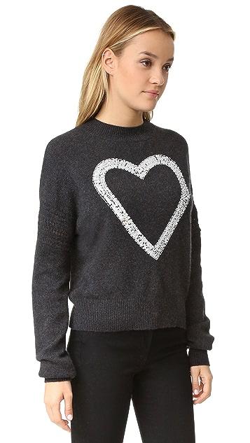 Wildfox Glitz Heart Cashmere Sweater