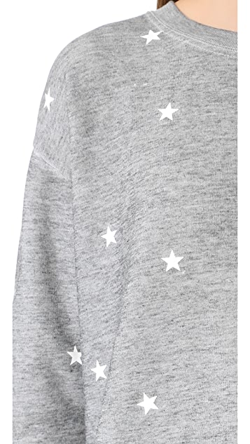 Wildfox Football Star Burnout Fleece Sweashirt