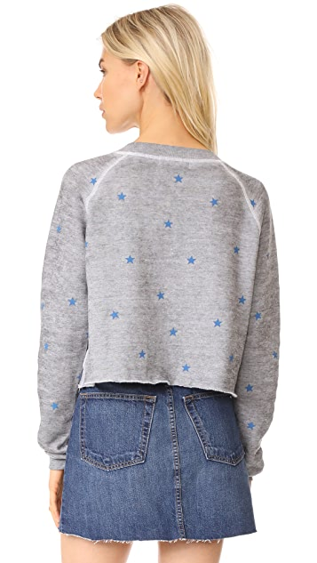 Wildfox Football Star Cropped Sweatshirt