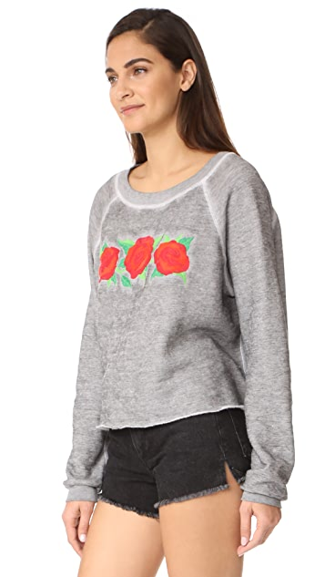 Wildfox Three Rose Embroidered Sweatshirt