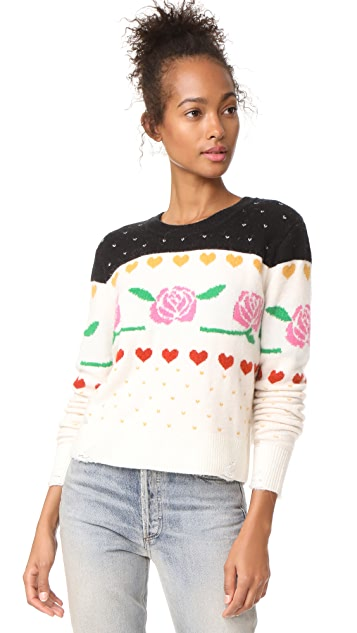 Wildfox Rose Fair Isle Shining Sweater
