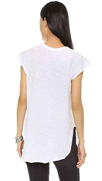 Wilt Raw Edge Flutter Shirttail Top