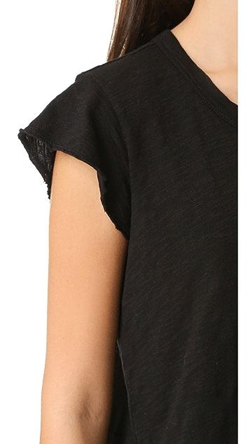 Wilt Raw Edge Flutter Shirttail Top