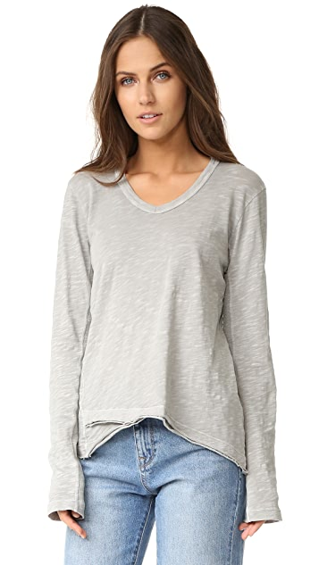 Wilt Shrunken V-Neck Long Sleeve Mock Hem Tee