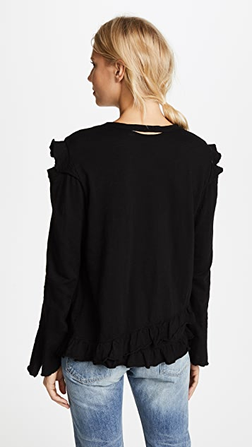 Wilt Raw Ruffle Cold Shoulder Tee