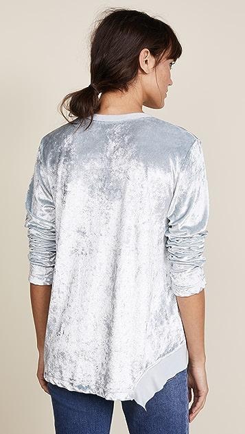Wilt Velvet Notch Hem Pullover