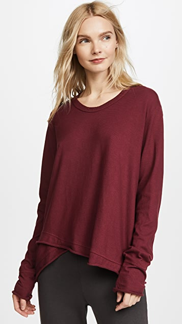 Wilt Lux Easy Slouchy Long Sleeve Tee - Cranberry