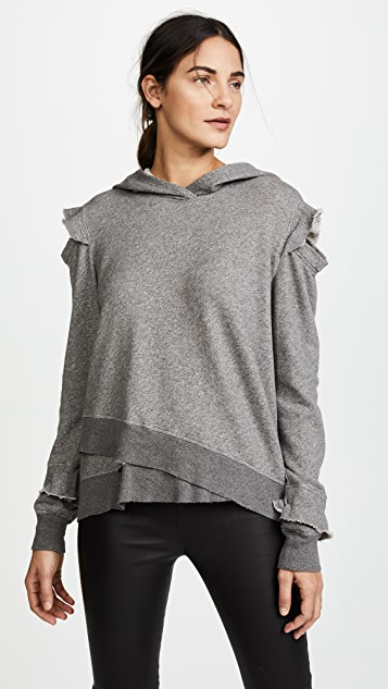Wilt Ruffle Cold Shoulder Hoodie - Charcoal Heather