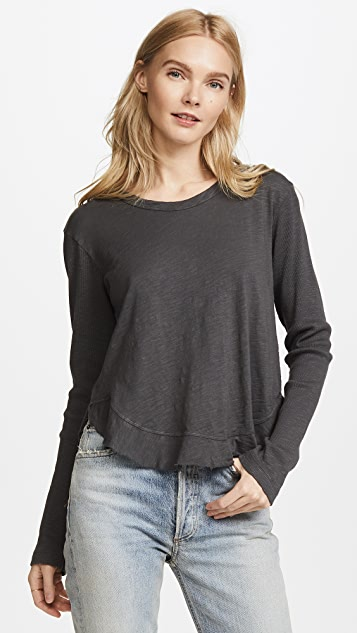 Wilt Shrunken Ruffle Shirttail Long Sleeve Tee - Metal