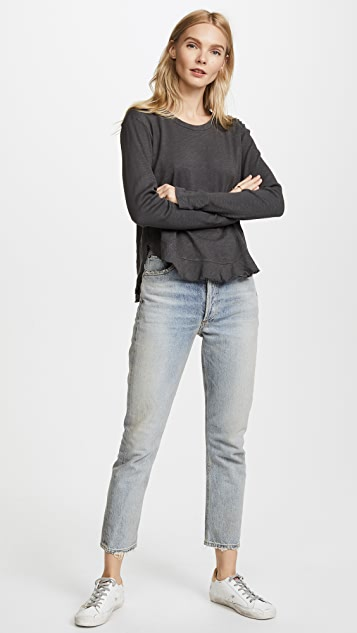 Wilt Shrunken Ruffle Shirttail Long Sleeve Tee