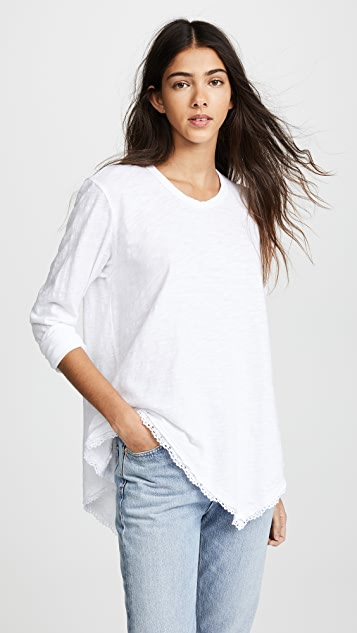 Wilt Tunic Tee with Double Slant Lace Edges