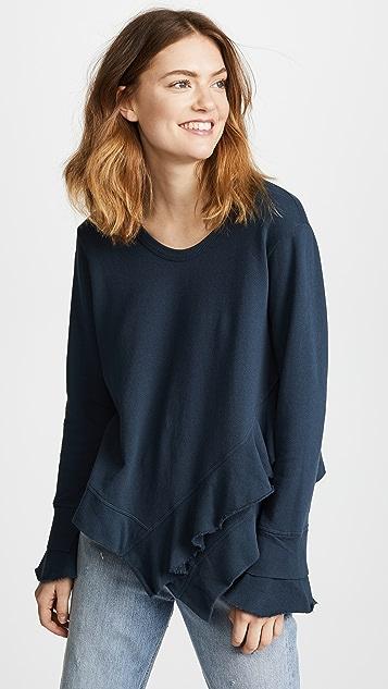 Wilt Slouchy Slanted Ruffled Sweatshirt