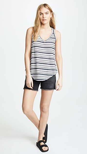 Wilt Baby Slub Striped Shrunken Slit Back Tank