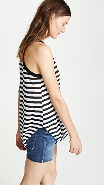 Wilt Linen Striped Ringer Tank Top