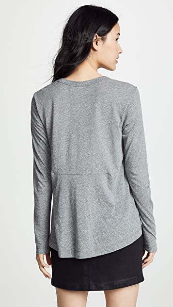 Wilt Open Neck Slubby Long Sleeve Tee
