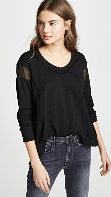 Wilt Back Slant Tee with Tulle Insert