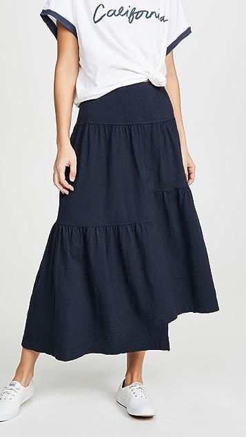 狂野印花 长款层褶半身裙
