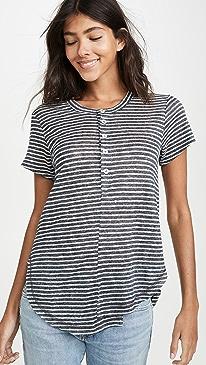 Stripe Linen Button Henley Tee