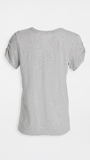 狂野印花 皱缩抽褶袖 T 恤