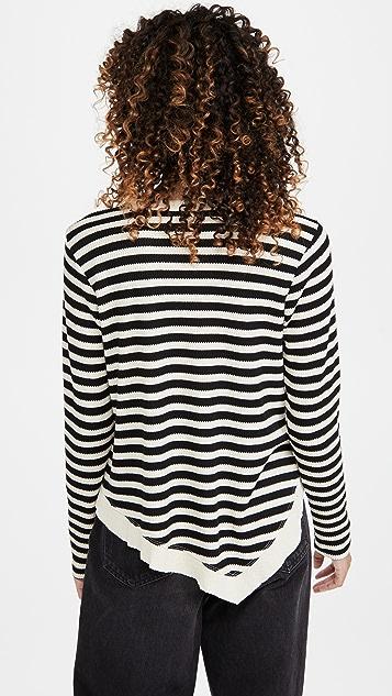 Wilt Slant Hem Stripe Thermal Top