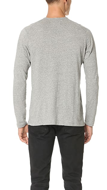 Wings + Horns Silk Jersey Long Sleeve Henley