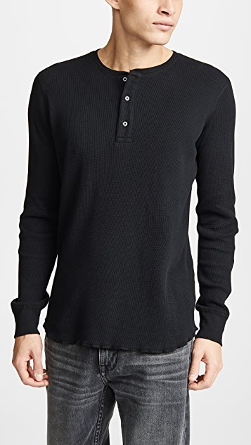 Wings + Horns Thermal Long Sleeve Henley Shirt