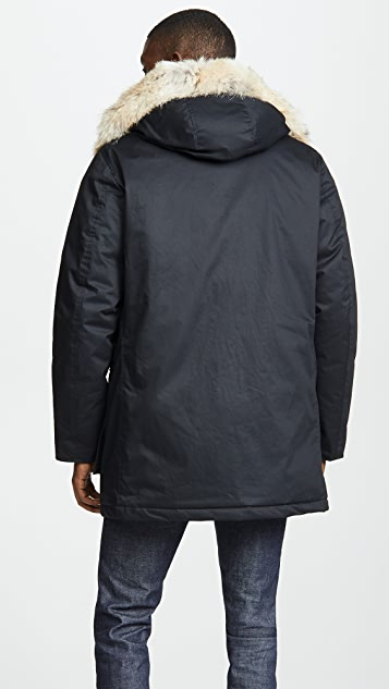 Woolrich John Rich & Bros. Laminated Cotton Parka Coat with Fur Trim