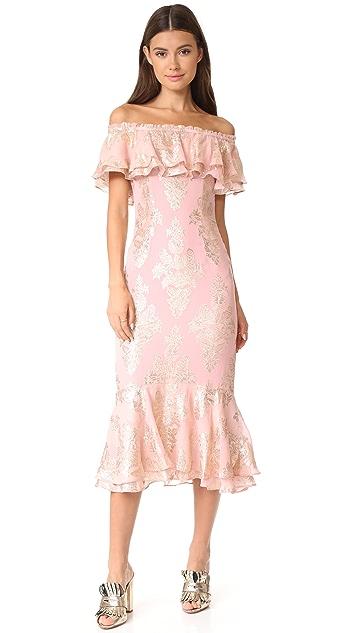 We Are Kindred Blushing Lotus Off Shoulder Dress