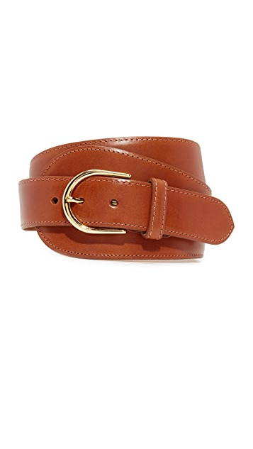 W.Kleinberg Glazed Leather Large Tab Belt