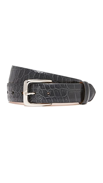 W.Kleinberg Embossed Croc Leather Belt - Black