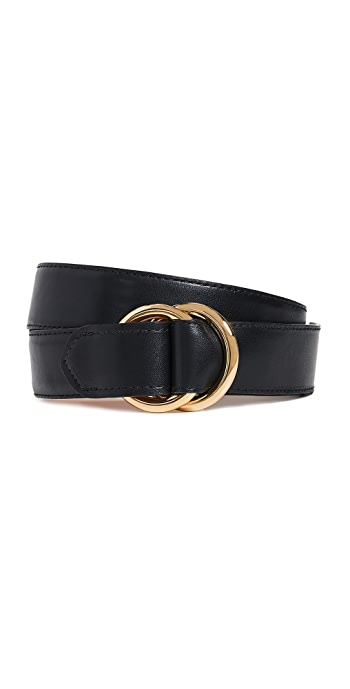 W.Kleinberg Leather O Ring Belt - Black