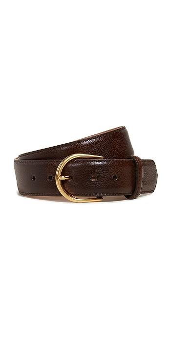 W.Kleinberg Pebbled Leather Basic Belt - Chocolate