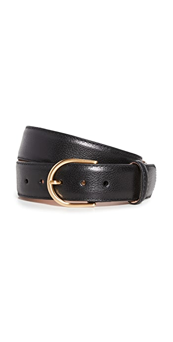 W.Kleinberg Pebbled Leather Basic Belt - Black