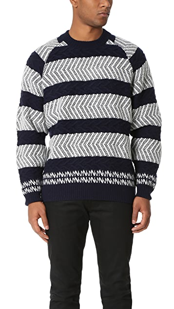 White Mountaineering Herringbone Pattern Round Neck Knit Sweater