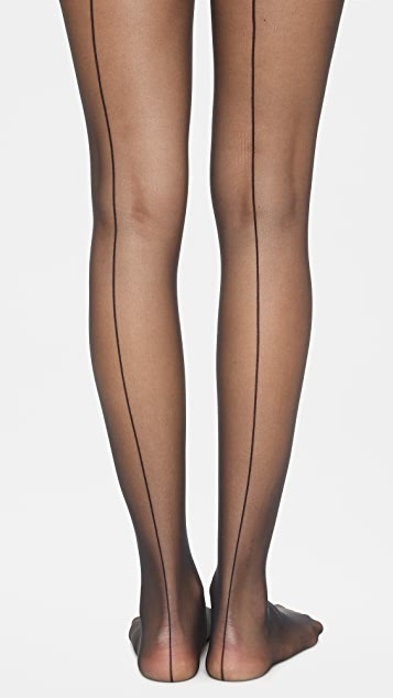 Wolford Individual 10 Back Seam Tights - Black