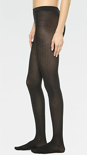 Wolford Fine Cotton Rib Tights - Black