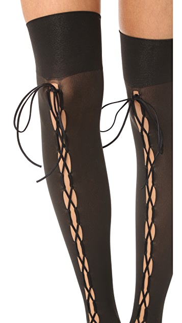 Wolford Lace Up Thigh High Tights