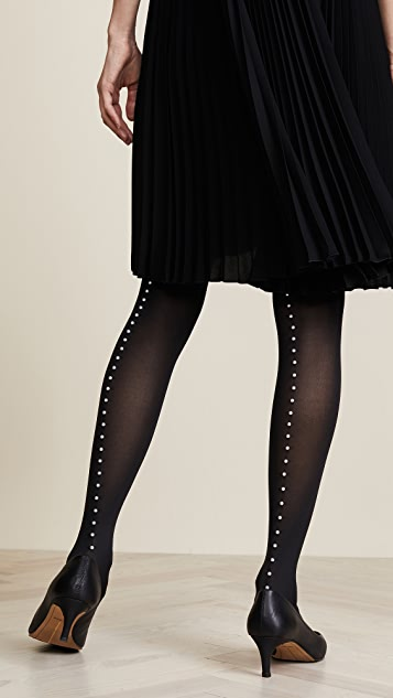 Wolford Imitation Pearl Back Seam Tights