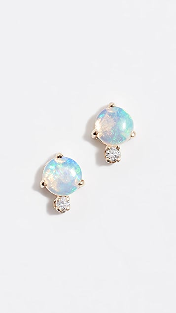 Wwake 14k Classic Opal and Diamond Earrings