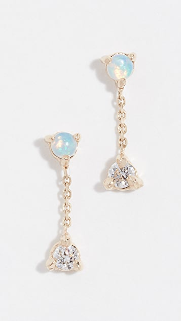 Wwake 14k Small Two-Step Chain Pair of Earrings