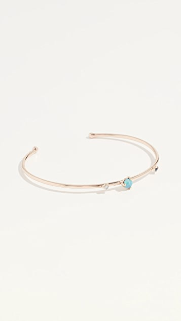 Wwake 14k Three Stone Cuff Bracelet