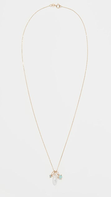 Wwake 14k 长款珍珠 & 猫眼石吊坠项链