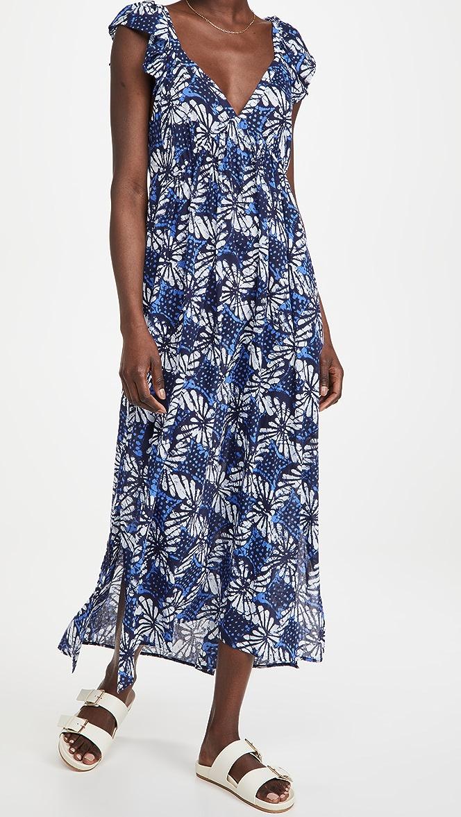 sea print shells print A-line dress medium size wrap top short sleeves Vintage 70s dress knee length