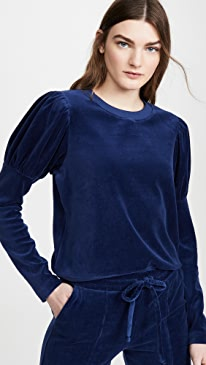 Velour Puff Sleeve Sweatshirt