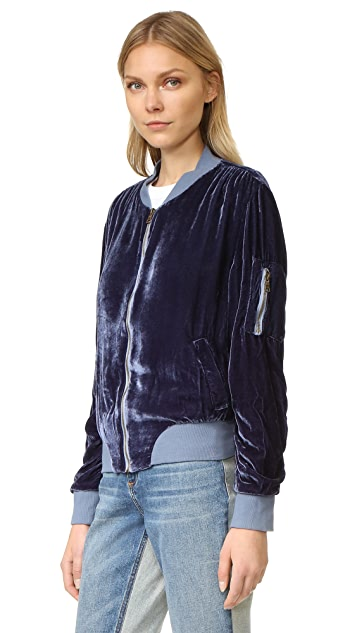 Young Fabulous & Broke Velvet Bomber Jacket