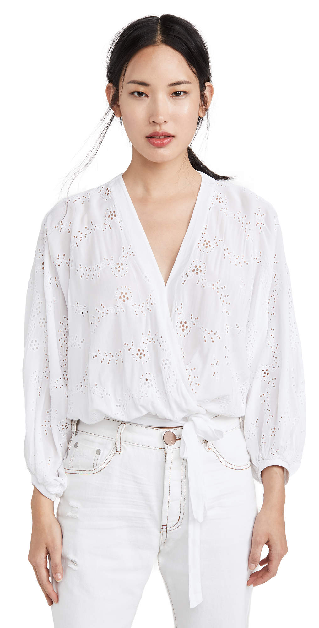 Young Fabulous & Broke Lacey Eyelet Wrap Top