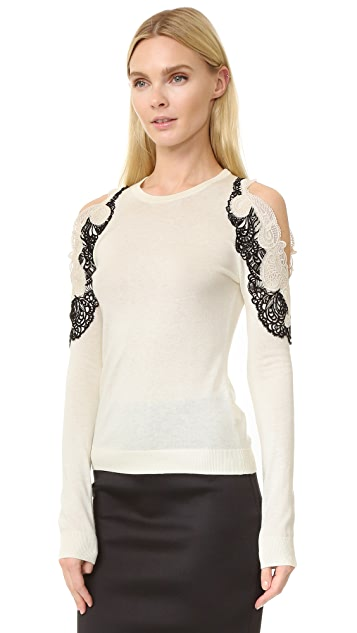 Yigal Azrouel Cold Shoulder Lace Trim Sweater
